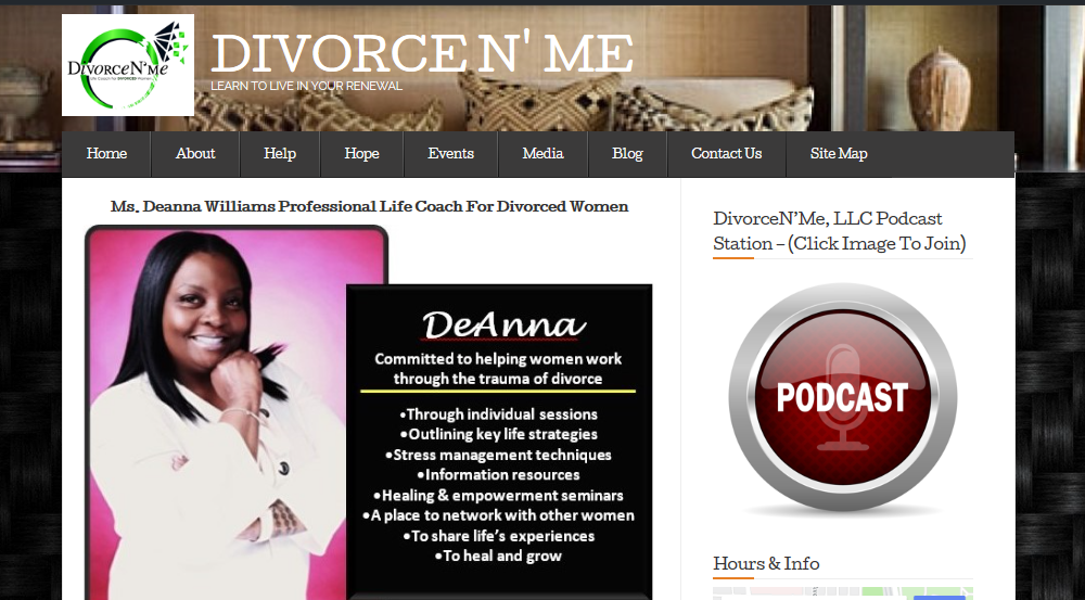 Deanna update front page of divorce n me website 2019